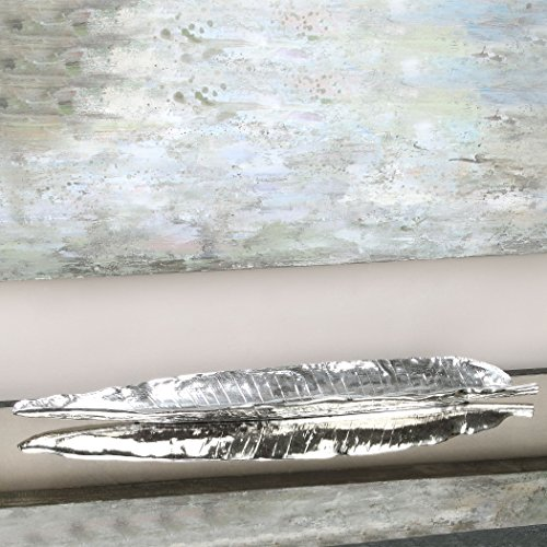 Uttermost Banana (Decorative Long Silver Banana Leaf Bowl | Tray Asian Contemporary)