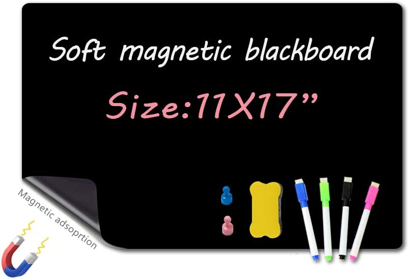 """Magnetic Chalkboard for Fridge-11X17""""/A3-with 4 Magnetic Liquid Blackboard Markers,1 Magnetic Eraser and 2 Thumbtack Magnets,Magnetic Dry Erase Board, Blackboard Waterproof and wear-Resistant."""