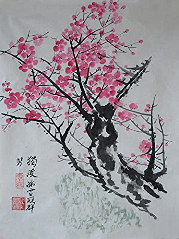 Traditional Oridental Art Hand Painted Chinese Brush Ink and Wash Watercolor Painting Drawing on Rice Paper Plum Blossom Signed Decorations Decor for Office Living Room Bedroom 17.7