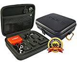 GoRad Gear Carrying Case for GoPro Hero Cameras, Water Resistant Exterior, Shockproof EVA Foam Interior, Double Mesh Storage Pocket (black)
