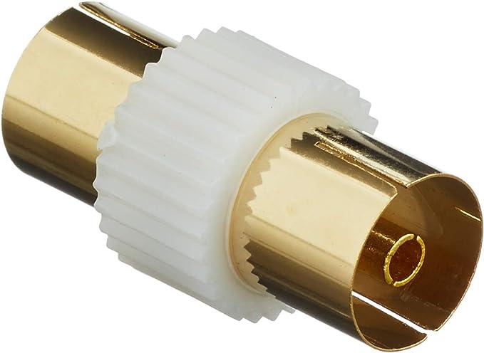 Dorado coaxial para antena de televisión hembra adaptador (F - F) cambiador de género junta (importado)