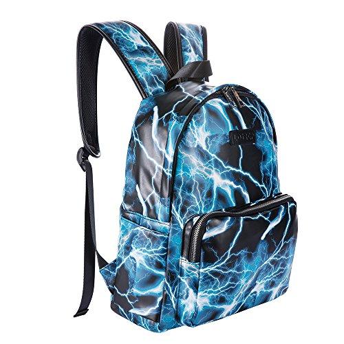 Ugoodbag PU Leather Backpack School College Bookbag Laptop Computer Lightning Backpack (Blue)