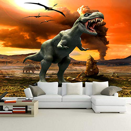 Custom 3D Photo Wallpaper for Children Room Living Room Mural Jurassic Park Dinosaur Kids' Room 3D Mural Wallpaper,200cm×140cm