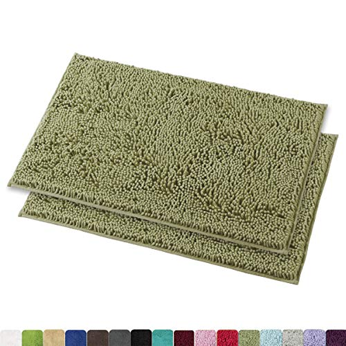 Chenille Bath Rugs - MAYSHINE Chenille Bathroom Rugs Extra Soft and Absorbent Shaggy Bath Mats Machine Wash/Dry, Perfect Plush Carpet Mat for Kitchen Tub, Shower, and Doormats (2 Pack - 20x32 inches, Sage Green)