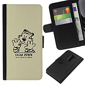YiPhone /// Tirón de la caja Cartera de cuero con ranuras para tarjetas - Calma tigre de Down - LG G2 D800