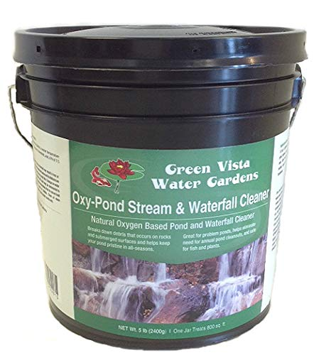 - Green Vista Oxy-Pond, Stream and Waterfall Cleaner - 5 Pound Container - Removes Algae Debris and Green Scum from Water and Surfaces - Uses Oxygen's Natural Power - Safe for Koi, Other Fish, Plants