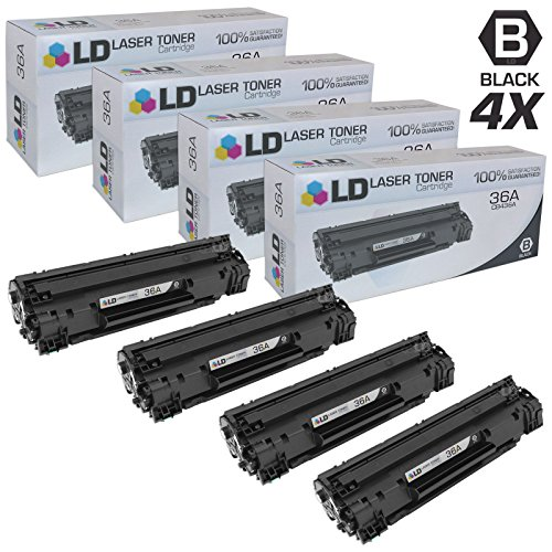 LD © Compatible Replacement Laser Toner Cartridges for Hewlett Packard CB436A (HP 36A) Black (4 Pack) for use in the following printers: LaserJet M1522n MFP, M1522nf MFP, P1505 & P1505n Printers