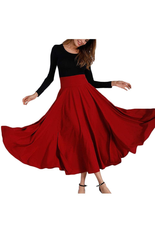 0dd3169d22a1c9 Frauen Im Herbst Elegante Hohe Taille Skater Rock Solid Maxi - Röcke Rot  8qESCvBk gute Qualität