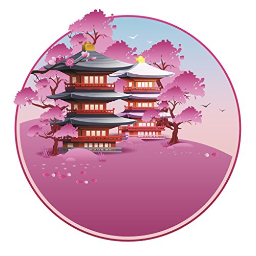 Pretty Pink Cherry Blossoms with Pagoda Temples Vinyl Decal Sticker (4
