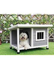 Petsfit Casa de perro de madera al aire libre con ventana de acero, una habitación y un salón para mascotas para dormir y descansar, techo de asfalto de ladrillo Casa de perro de madera, 85 cm x 62 cm x 58 cm, gris claro
