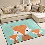 ALAZA Cartoon Cute Family of Fox Area Rug Rugs for Living Room Bedroom 5'3 x 4'