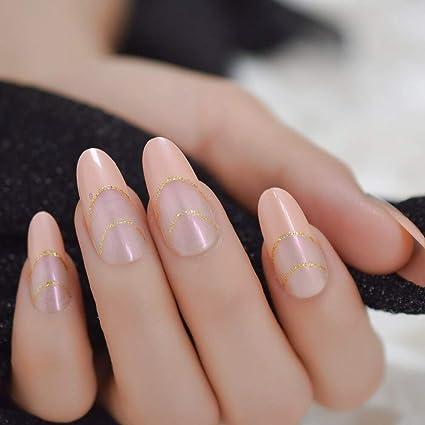 EchiQ - Uñas postizas largas y redondas con puntas francesas ...