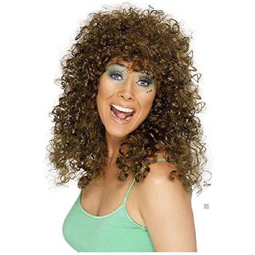 Disco Wig Adult Womens 70s Long Curly Halloween Costume Fancy (Female Leatherface Costume)