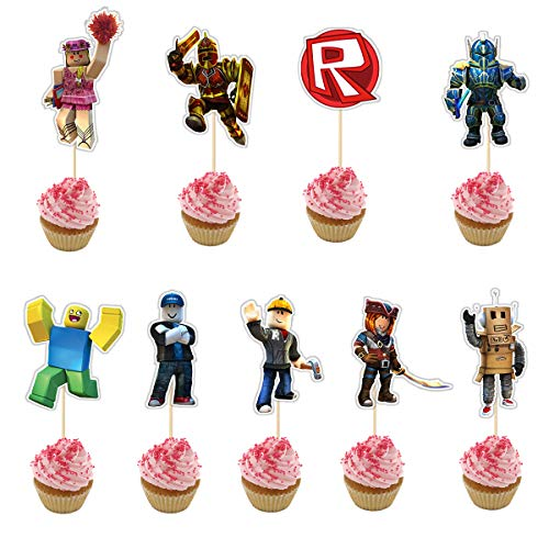 Cupcake Birthday Cakes (18 Pieces Happy Birthday Cupcake Topper for Video Game Cake Decoration,Party Supplies)
