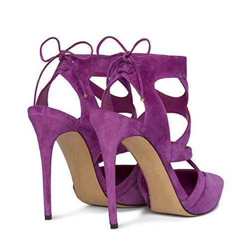 Minitoo ,  Damen Durchgängies Plateau Sandalen mit Keilabsatz Violett