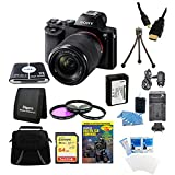 Sony 24.3 MP a7K ILCE-7K/B ILCE7 ILCE7KB Full-Frame Interchangeable Digital Lens Camera w/ 28-70mm Lens Bundle w/ 64GB SDXC Memory Card, NP-FW50 Camera Battery, Carrying Case, 55mm Filter Kit & More