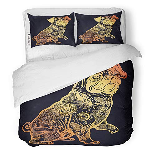 Emvency Decor Duvet Cover Set King Size Vintage Beautiful Bulldog Pug Dog with Body Decorated in Flash Tattoos Character 3 Piece Brushed Microfiber Fabric Print Bedding Set Cover