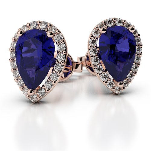 Or Rose 18carats 0,30CT G-H/VS Certifié Forme de poire Saphir et diamant Boucles d'oreilles Ager-1074