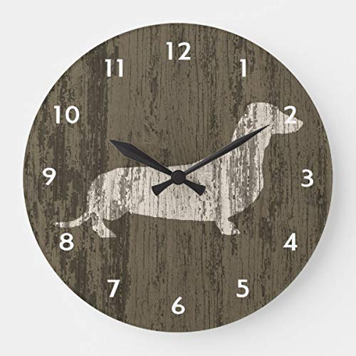 OSWALDO Weathered Dachshund Clock Decorative Round Wooden Wall Clock - 12 ()
