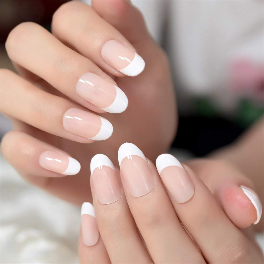Round Natural False Nails Glitter Nude Gradient White French Nail Extra  Short Size Manicure 24Pcs Z939