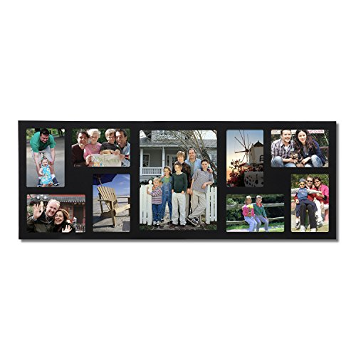 Adeco 9-Opening Black Wood Wall Hanging Photo Frame, 4 by 6