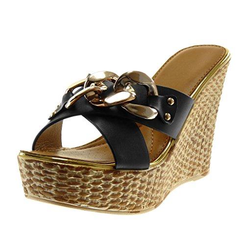 Angkorly Women's Fashion Shoes Mules - Slip-on - Platform - Chains - Golden - Crossed Thongs Wedge Platform 11.5 cm Black 8sKe91ftAn
