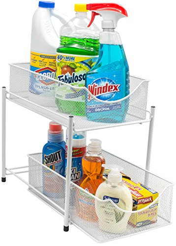 Sorbus 2 Tier Organizer Baskets with Mesh Sliding Drawers, Ideal Cabinet, Countertop, Pantry, Under the Sink, and Desktop Organizer for Bathroom, Kitchen, Office. Made of Steel (White) (White Drawers Basket)