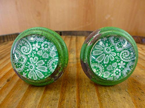 2 Green-White LACE Glass Drawer Cabinet PULLS KNOBS Vintage Distressed Hardware Distressed Antique Brass Cup Pulls