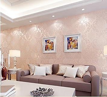 Ayzr Wallpaper Boda Romántica Habitación Dormitorio Papel Tapiz La Protección Del Medio Ambiente Salón No Tejido Damasco Simple Europea Wallpaper Amarillo Canario