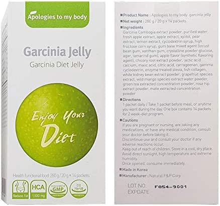 Garcinia Diet Jelly (20g x 14 Packets) – A Healthy Diet, Natural Weight Loss Diet Supplement, Fast Acting Appetite Suppressant, Garcinia Cambogia, Wild Mango, Green Apple