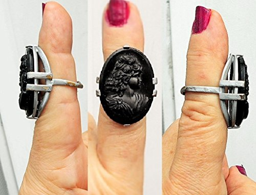1940's Vintage Celluloid (Large Black Cameo RING, Vintage Glass & Celluloid Adjustable SilverTone Ring, Black Cameo with Thick Curly Hair, Big Bosom .)