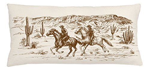 Lunarable Western Throw Pillow Cushion Cover, Country Theme Hand Drawn Illustration of American Wild West Desert with Cowboys, Decorative Square Accent Pillow Case, 36 X 16 inches, Cream Umber