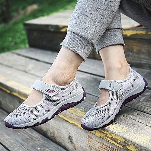 Chaussures Femme Baskets Mocassons Flats Merceditas Gris Qinmm Casual Respirants Mesh Sneaker Sport Cpdpw