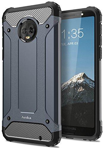 Moto G6 Plus Case, Aeska [Dual Layer] Heavy Duty Drop Protection Armor Hybrid Defender Shockproof Protective Case Cover for Motorola Moto G6 Plus (Blue)