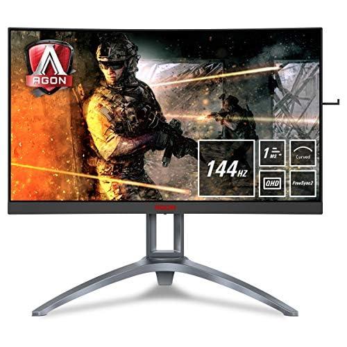 chollos oferta descuentos barato AOC Monitores AG273QCX Pantalla para PC Curvo de 27 UHD 2K resolución 2560 x 1440 Pixels 144 Hz 4ms FreeSync 2 FlickerFree LowBlue Mode Altavoces VESA VGA HDMI Displayport USB
