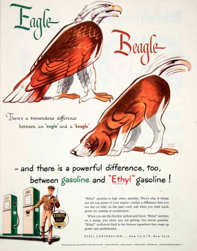 1950 Ad Gasoline Ethyl New York Eagle Beagle Difference Petroleum Oil Keith Ward - Original Print Ad by...