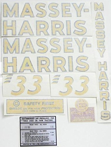 840921M91 New Complete Decal Set Made to fit Massey Harris Tractor 33