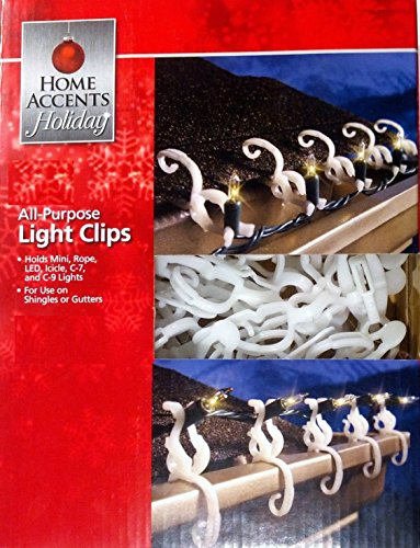 Home Accents Holiday Living All-Purpose Universal Indoor / Outdoor Shingle / Gutter Christmas Light Clips for Mini, Icicle, Rope, C7, C9, LED, Globes and More - 150 Hooks (Holiday Living Lights Led)