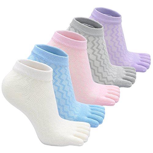 Kids Cotton Running Toe Socks Boys Girls Anti-slip Five Finger Crew Ankle Sports Sock (5 Pairs) (Girls Socks Toe)