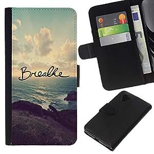 KLONGSHOP // Tirón de la caja Cartera de cuero con ranuras para tarjetas - Respira el inspirador mensaje Sunset - LG Nexus 5 D820 D821 //