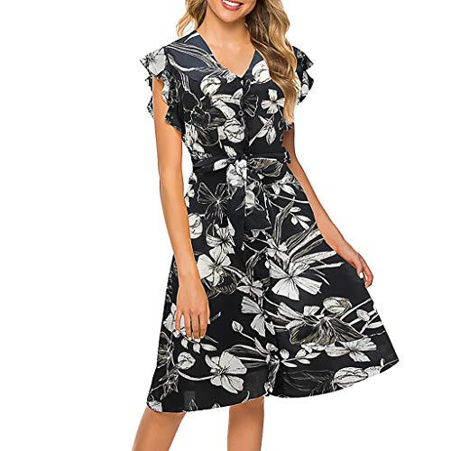 ✔ Hypothesis_X ☎ Womens Short Sleeve Round Neck Ruffles Wrap Dresses Party Dress V-Neck Print Summer Dress Black