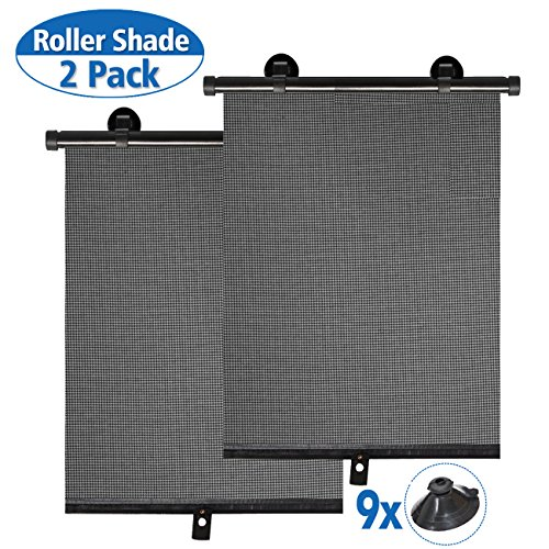 for Baby,Car Window Shade Roller Retractable Sunshade for Side Windows Windshield Sun Shade Blocks 98% of Harmful UV Rays,Protect Your Kids from Sun Glare and Heat (2 Pack) ()
