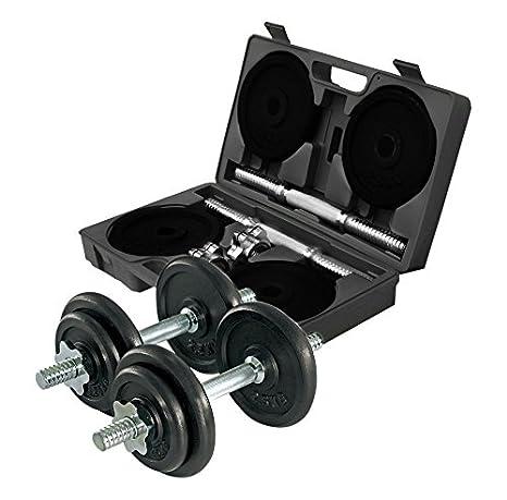 Gymstick 61070 - 20 - Set de Mancuernas Ajustables, 20 kg, Color Negro y Cromo: Amazon.es: Deportes y aire libre