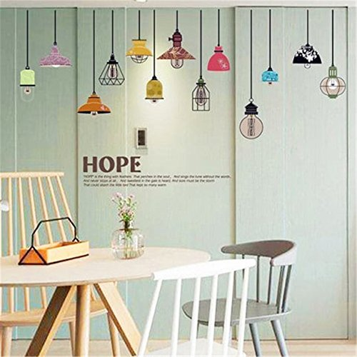 Yeazo Wall Decor Stickers for Living Room Colorful Pendant Lamp Hope for Living Room