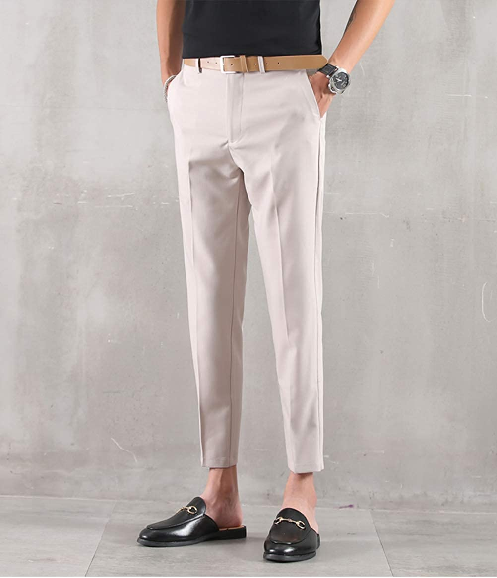 MOGU Ankle-Length Dress Pants for Men Slim Fit Cropped Trousers