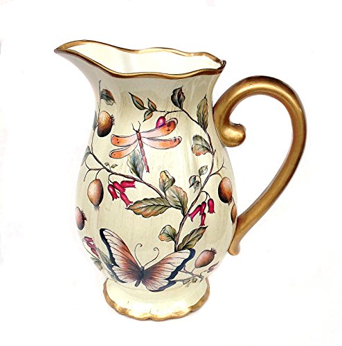 Cream Ceramic Decorative Beautiful Pitcher or Vase, Cream Body with Dragonfly and Butterfly