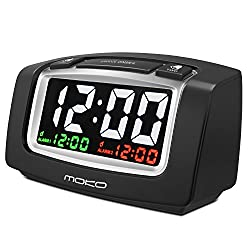 MoKo Large LCD Display Dual Alarm Clock with 2 USB ports, Snooze, Simple Setting, Progressive Alarm, Battery Operated, Shockproof, BLACK