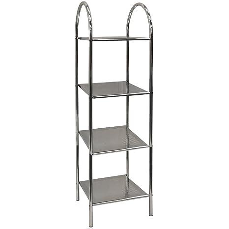 athena 4 tier metal bathroom storage display shelves silver rh amazon co uk metal bathroom storage shelves stainless bathroom shelves
