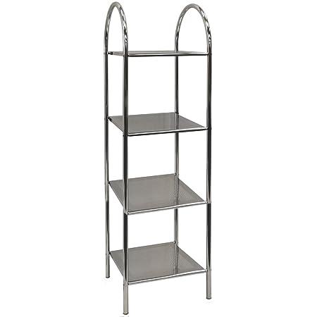 ATHENA - 4 Tier Metal Bathroom Storage / Display Shelves - Silver ...