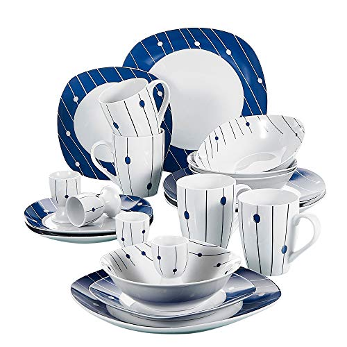 (VEWEET 20-Piece Porcelain Tableware Decal Patterns Dinnerware Sets with Dinner, Dessert Plate Bowl, Mug, Egg Cup, Service for 4 (DOT Series))